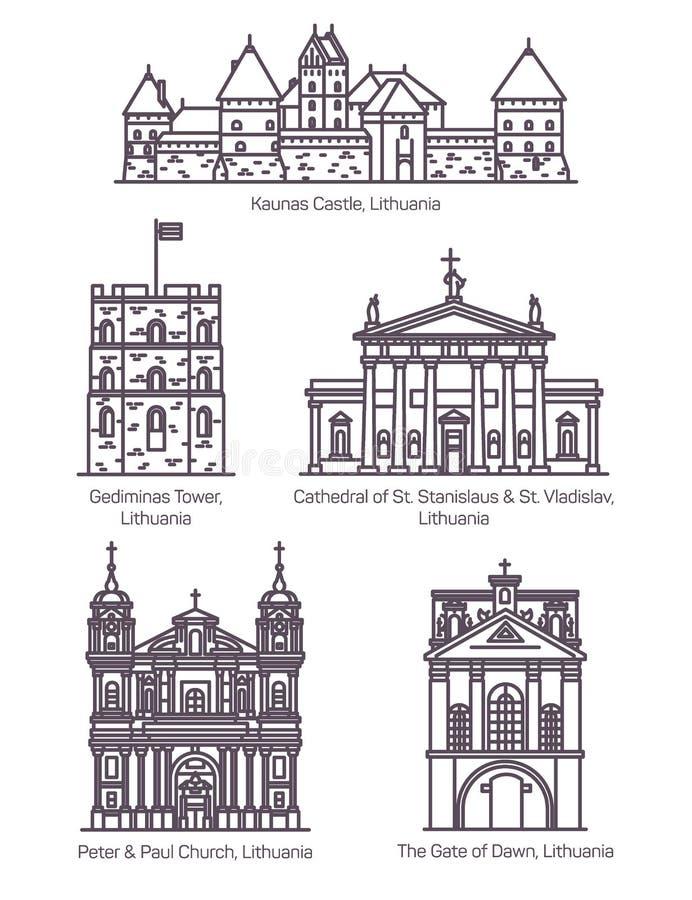 Marcos famosos isolados de Lituânia na linha fina ilustração royalty free
