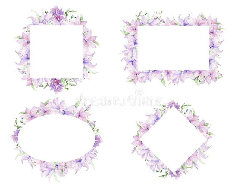 Marcos florales con las flores rosadas y las hojas decorativas Diseño de la invitación de la acuarela horizontal Fondo para ahorr imagenes de archivo