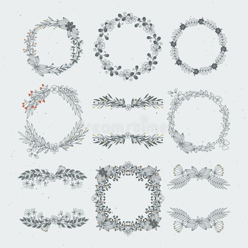 Marcos florales de diverso vector de ramas Ornamentos decorativos de la naturaleza ilustración del vector