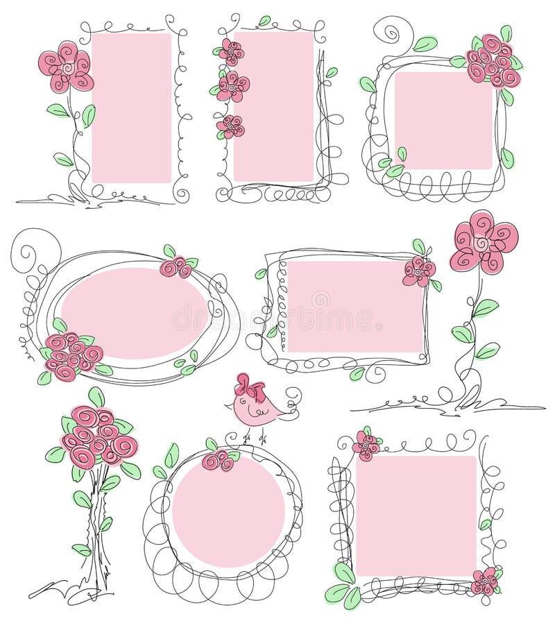 Marcos florales del doodle del vector ilustración del vector