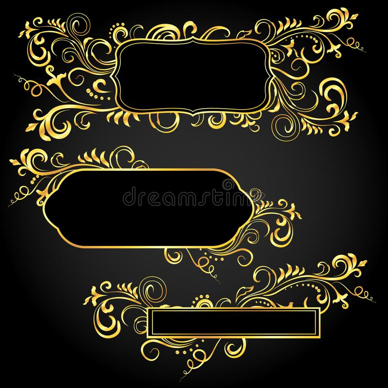 Marcos florales del garabato ornamental de oro fijados libre illustration