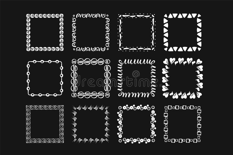 Marcos handdrawn geométricos modernos de la tinta del vector Sistema de 12 bastidores modernos ilustración del vector