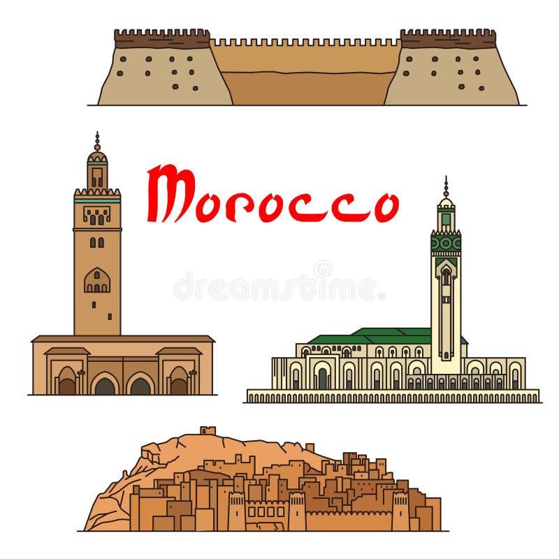 Marcos históricos e sightseeings de Marrocos ilustração do vetor