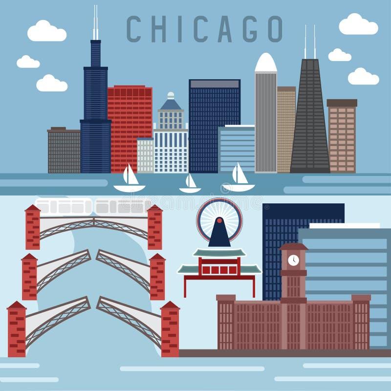 Marcos horizontais das bandeiras do vetor liso do projeto de Chicago, ilustração stock