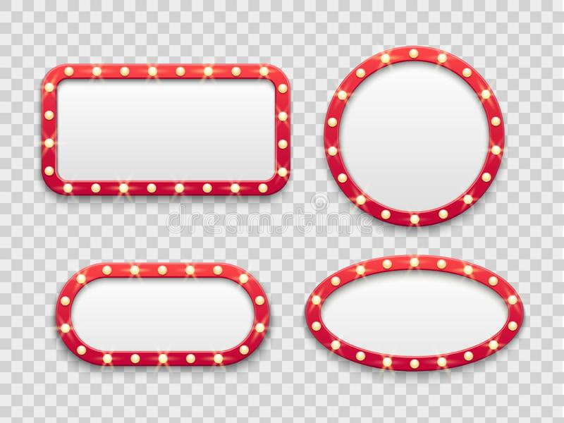 Marcos ligeros de la carpa Vintage alrededor y muestras rojas vacías rectangulares del cine y del casino con los bulbos El vector stock de ilustración