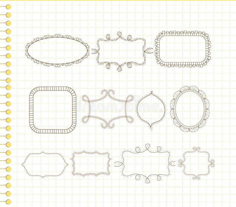 Marcos lindos del doodle ilustración del vector