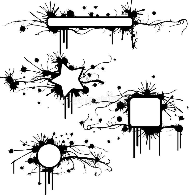 Marcos manchados del grunge ilustración del vector