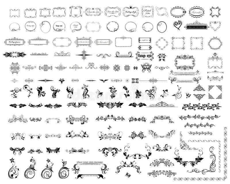 Marcos mega del sistema o de la colección, ilustración, elementos y jefes decorativos caligráficos y florales para el diseño y la ilustración del vector