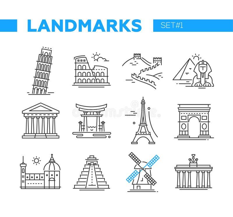 Marcos mundialmente famosos - linha ícones do projeto ajustados ilustração royalty free