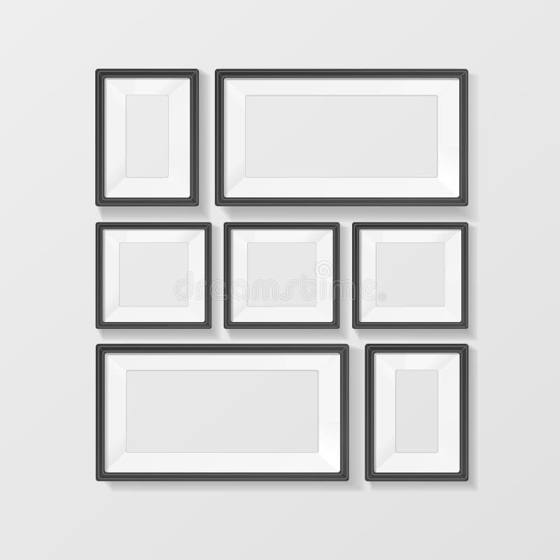 Marcos negros realistas fijados Vector stock de ilustración