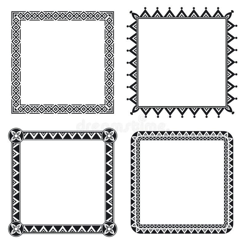 Marcos ornamentales geométricos stock de ilustración