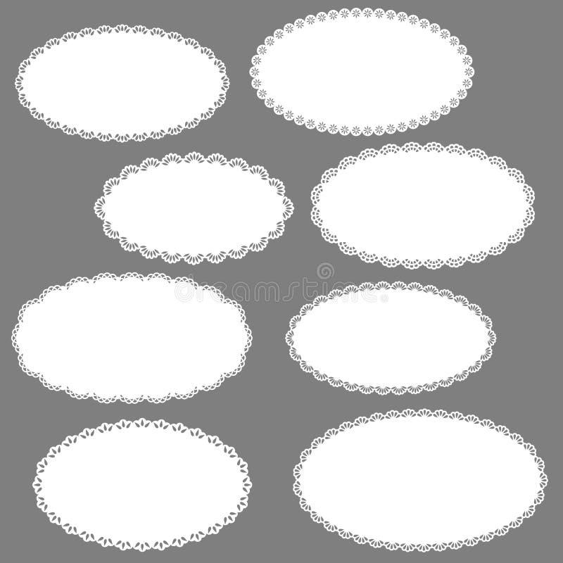 Marcos ovales de la vendimia stock de ilustración