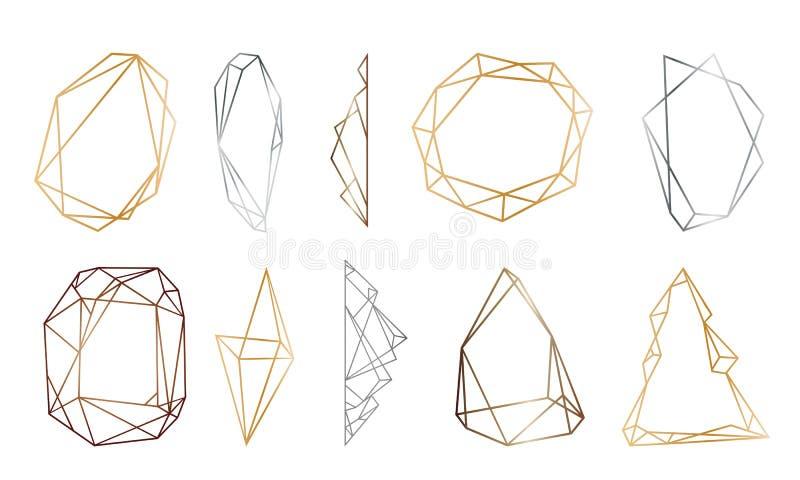 Marcos poligonales fijados Oro, plata, triángulos negros del brillo, formas geométricas Forma del diamante ilustración del vector