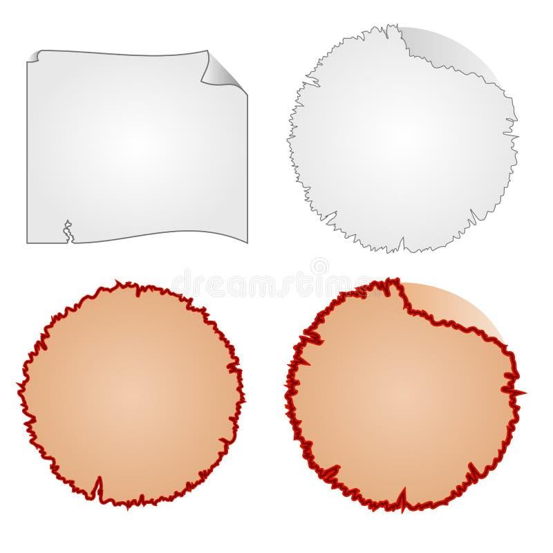 Marcos redondos o equipo dañado y vector de papel hecho andrajos stock de ilustración