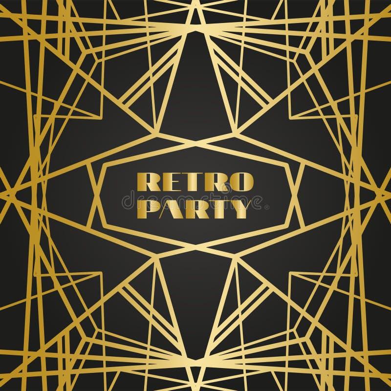 Marcos retros del viejo vintage con las líneas Estilo de los años 20 Decoración superior de oro real ilustración del vector