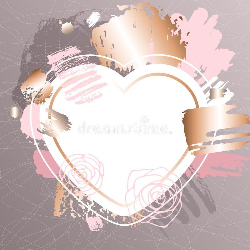 Marcos rosados de oro del arte Diseño de tarjeta moderno, movimiento del cepillo, oro, folleto superior, aviador, plantilla de la stock de ilustración
