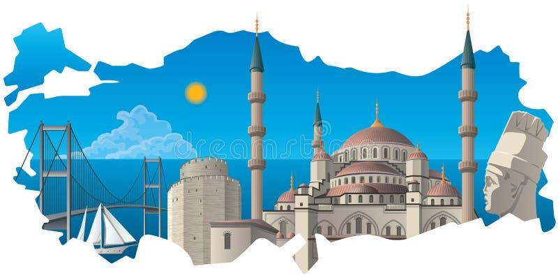 Marcos turcos famosos ilustração do vetor