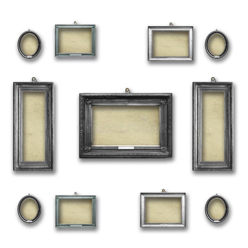 Marcos victorian de plata del vintage de madera determinado para la exposición del museo fotografía de archivo libre de regalías