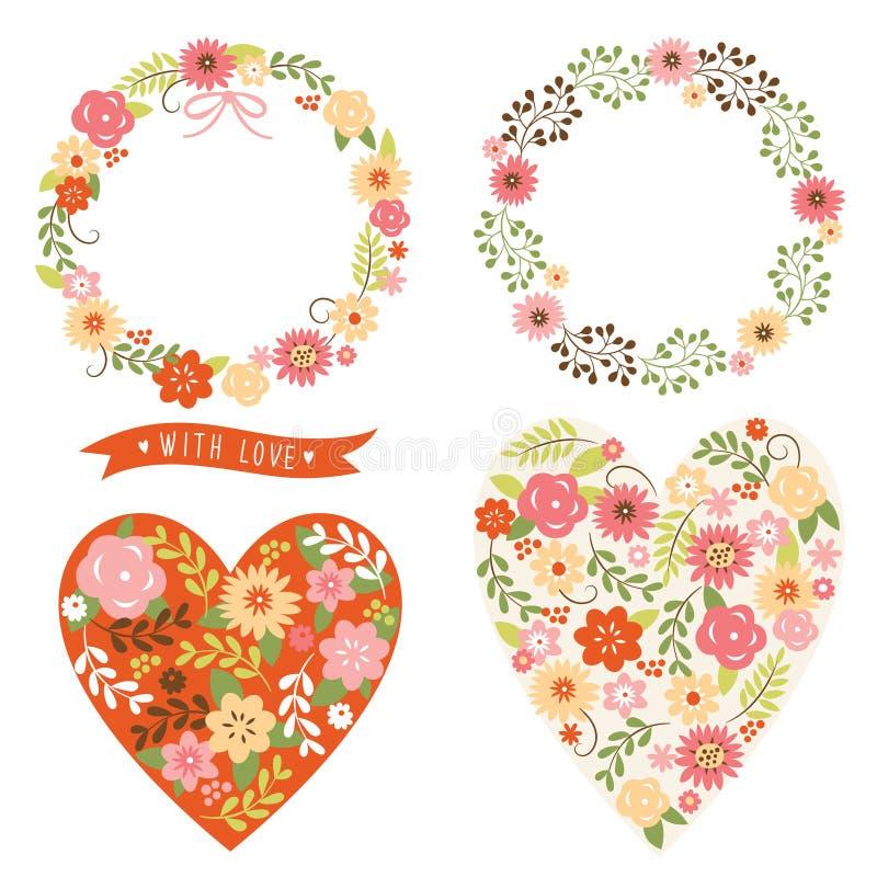 Marcos y corazón florales con las flores stock de ilustración