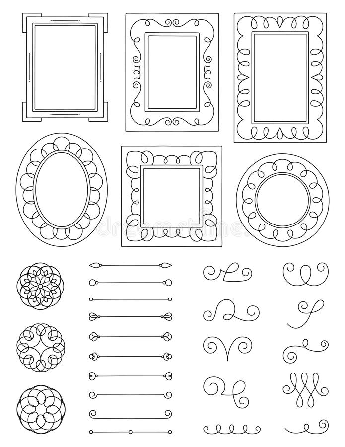 Marcos y elementos del garabato imagen de archivo libre de regalías