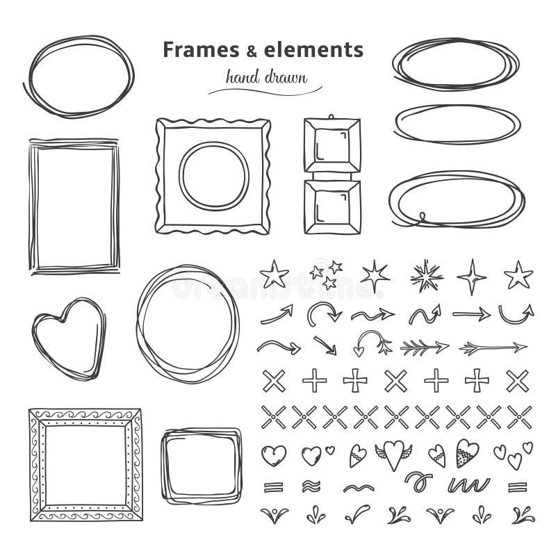 Marcos y elementos del garabato Línea redonda cuadrada exhausta marcos, fronteras de la mano del círculo del bosquejo del lápiz M stock de ilustración