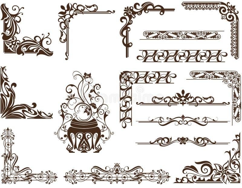 Marcos Y Esquinas Ornamentales Del Vintage Del Vector Ilustración ...