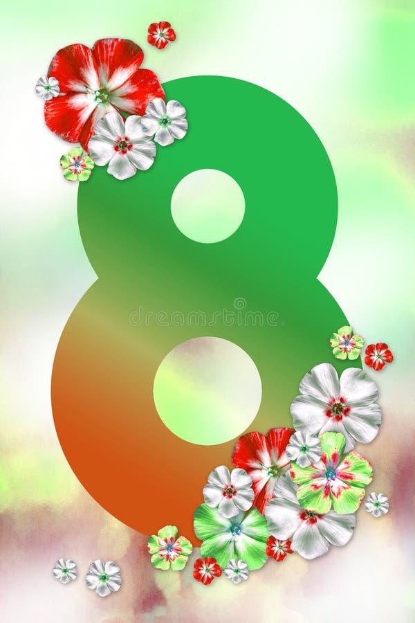 8 Marcowa kartka z pozdrowieniami z czerwieni zielenią kwitnie na lekkim tle Abstrakcjonistyczny wiosna plakat Szczęśliwy kobiety ilustracja wektor
