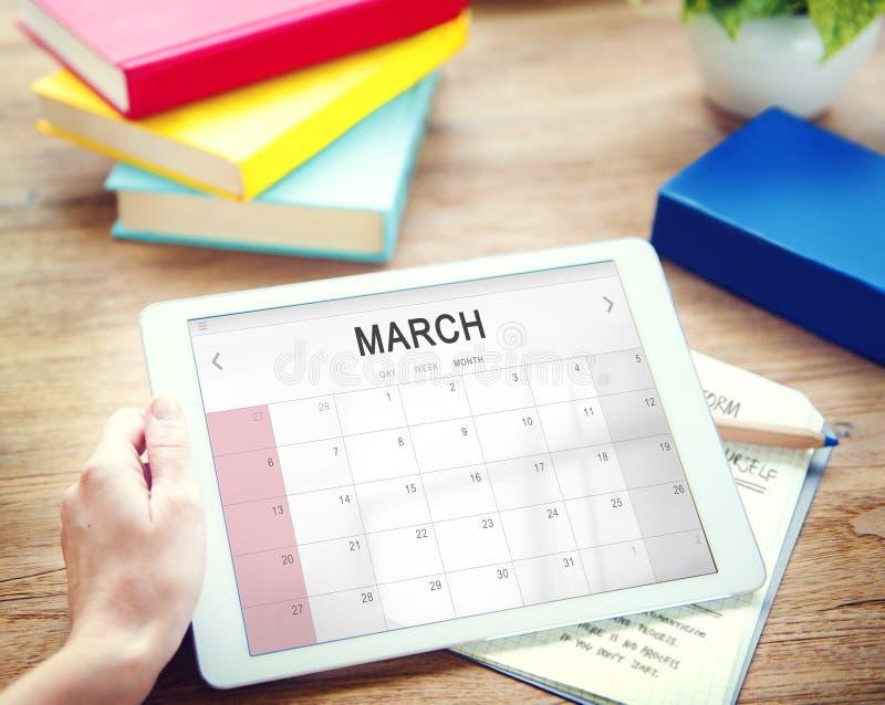 Marcowy miesięcznika kalendarza tygodnika daty pojęcie zdjęcia royalty free