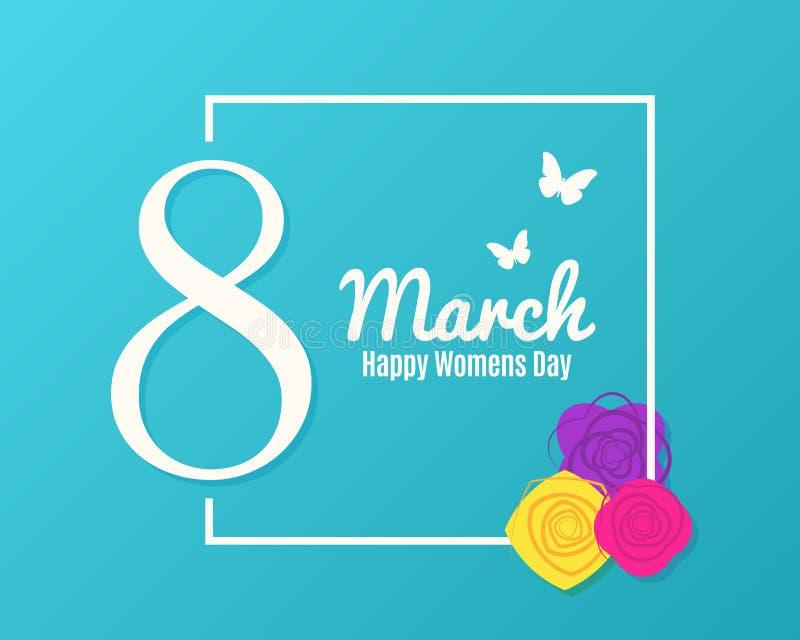 8 Marcowy sztandar Kobieta dnia powitanie z kwiatami