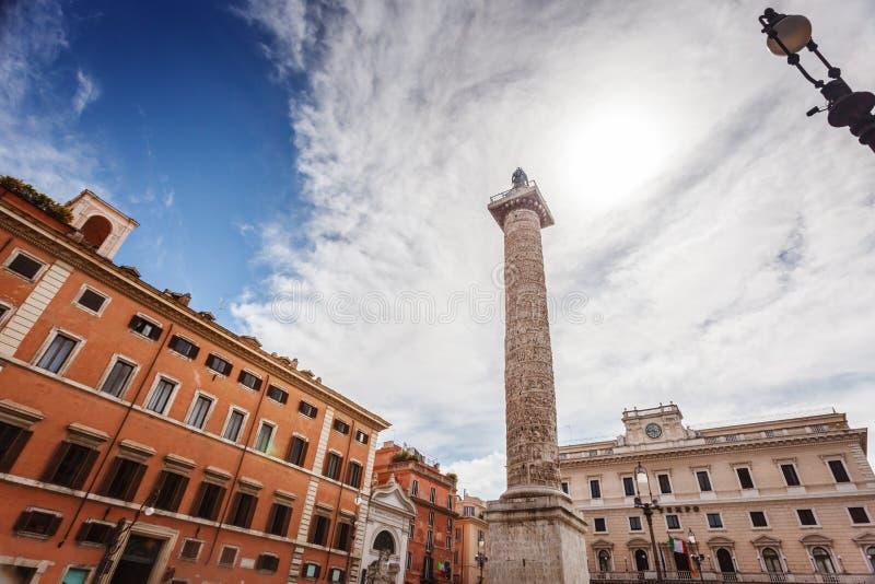 Marcus Aurelius-kolom op Piazza Colonna royalty-vrije stock foto's
