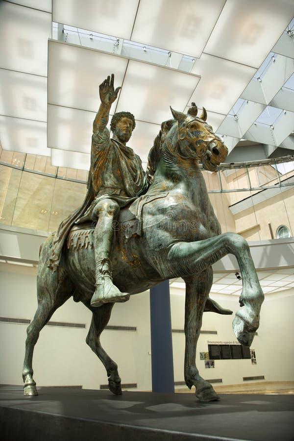 Marcus Aurelius in museum, Rome. stock images