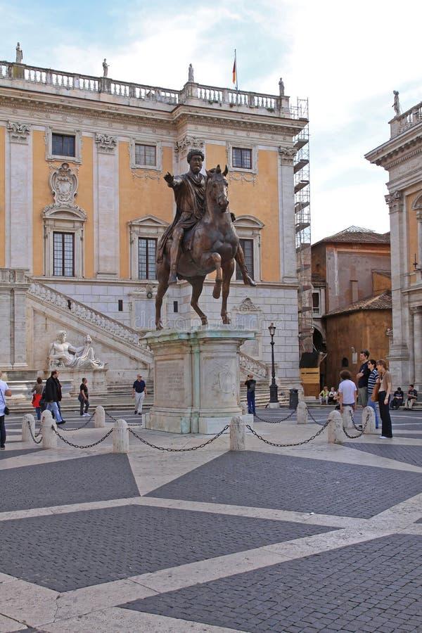 Marcus Aurelius Rome. Rome, Italy - October 25, 2009: Equestrian Statue of Marcus Aurelius at Capitoline Hill in Rome, Italy royalty free stock photography