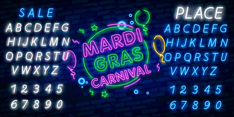 Mardi Gras är ett neontecken Ljust glödande baner, neonaffischtavla, neonadvertizing av karnevalet Fet tisdag designmall, fotografering för bildbyråer