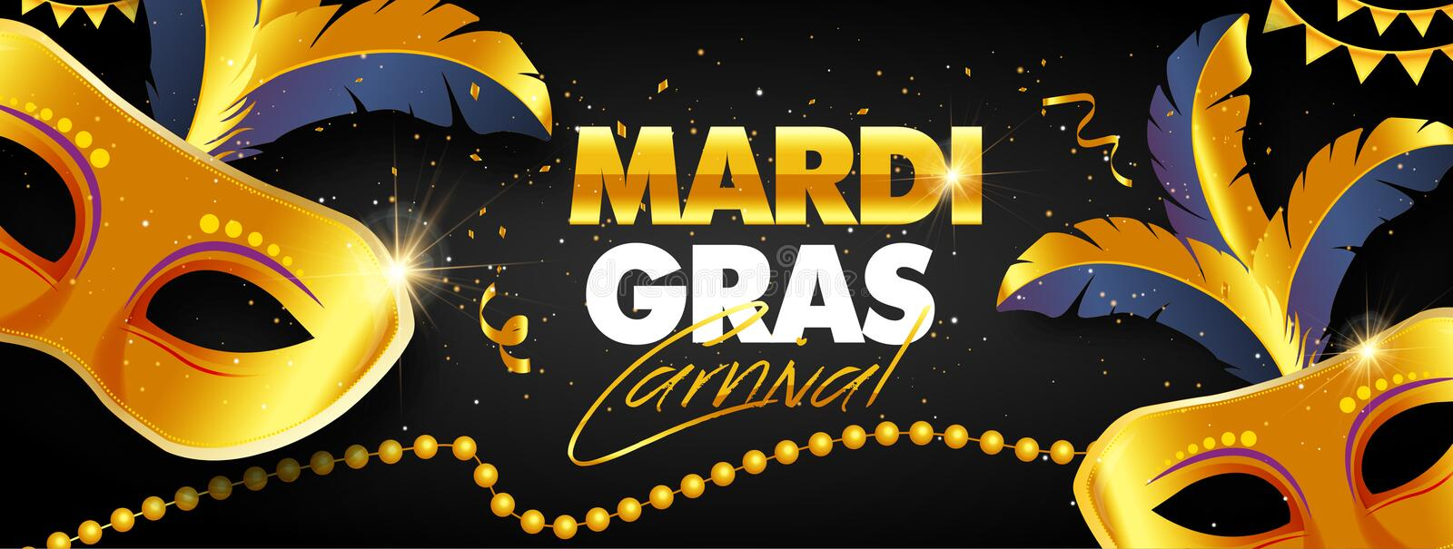 Mardi Gras banner design. With beautiful mask - Vector royalty free stock photography
