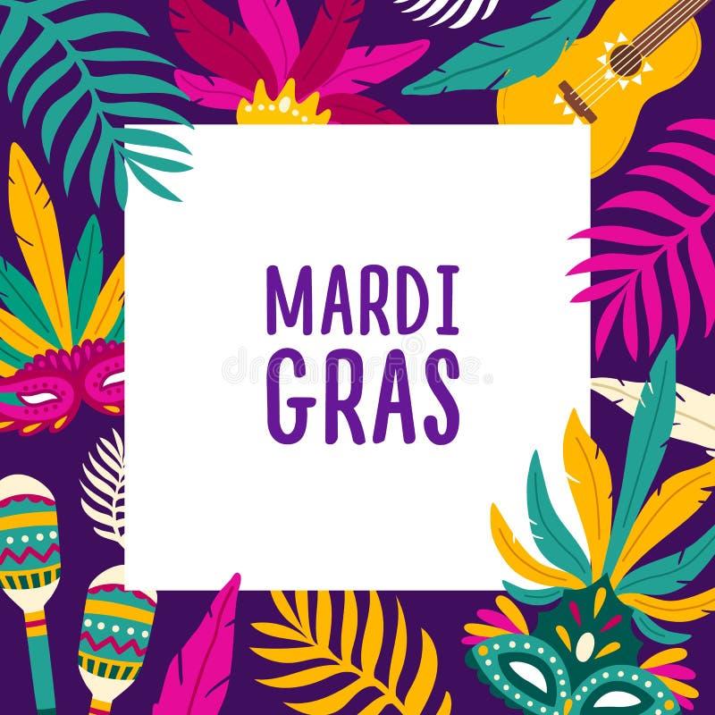 Mardi Gras-achtergrond met vierkant kader dat door exotische palmbladeren wordt verfraaid, Carnaval-maskers, maracas, gitaar fees stock illustratie