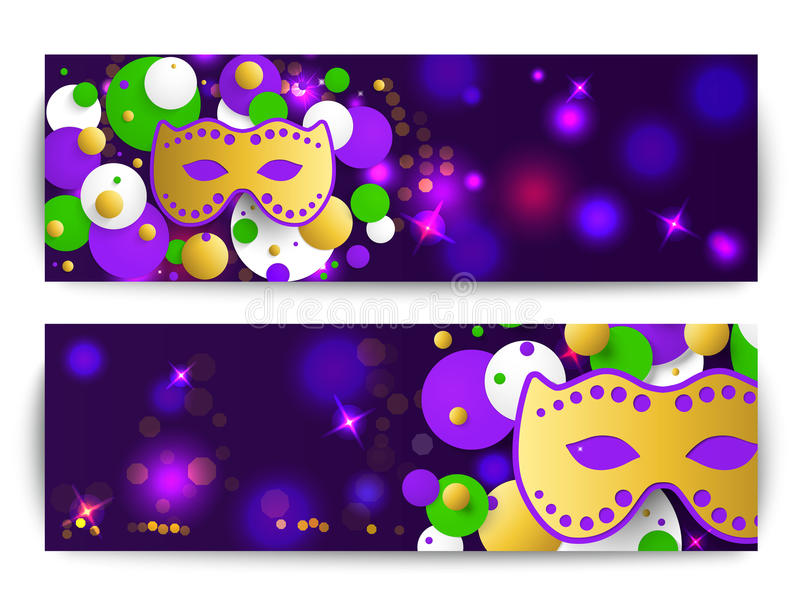 Mardi gras background. Abstract horizontal banner. Template for invitation, flyer, poster or greeting card. Carnival mask with beads. Vector illustration vector illustration