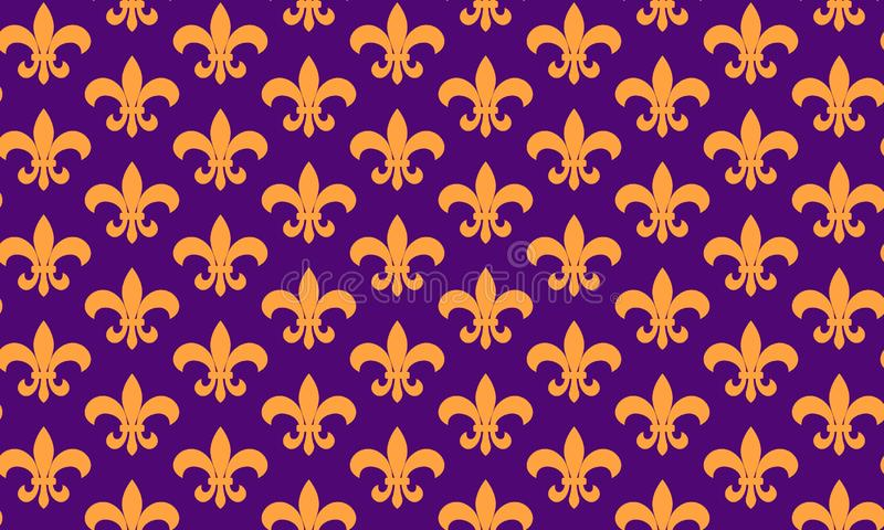 Seamless pattern fleur de lis symbol.Mardi Gras seamless pattern. Carnival background. Fat Tuesday. royalty free illustration