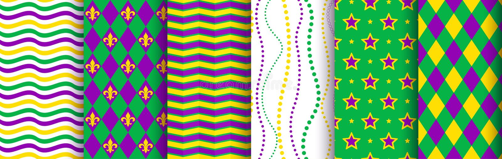 Mardi gras background, seamless pattern set. Pattern swatches included in the Swatches panel stock photo
