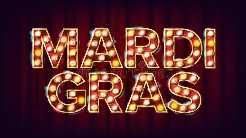 Mardi Gras Background Vector Karnevals-Weinlese-Art belichtetes Licht Für Grußkarte Parteieinladungsdesign lizenzfreie abbildung