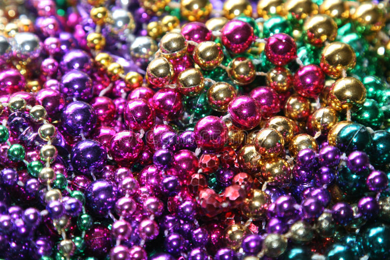 Mardi Gras beads. Collection of Mardi Gras beads stock photos