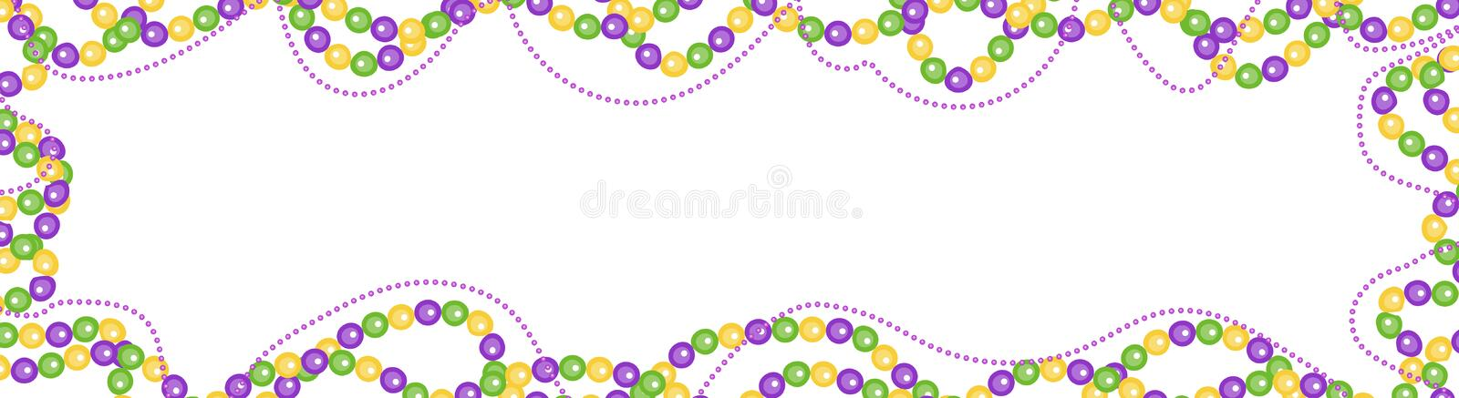 Mardi Gras beads colored frame, isolated on white background. Horizontal banner, border. Template for your design. Vector illustration royalty free illustration