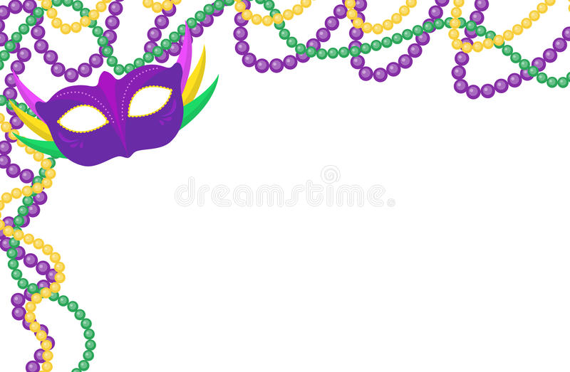 Mardi Gras beads colored frame with a mask, isolated on white background. Vector illustration stock illustration