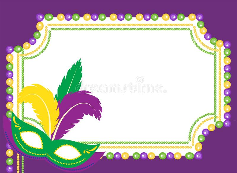 Mardi Gras beads colored frame with a mask, on white background. Template poster. Vector illustration. Mardi Gras beads colored frame with a mask, on white vector illustration