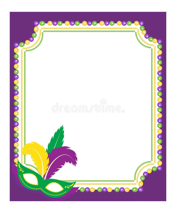 Mardi Gras beads colored frame with a mask, on white background. Template poster. Vector illustration. Mardi Gras beads colored frame with a mask, on white royalty free illustration