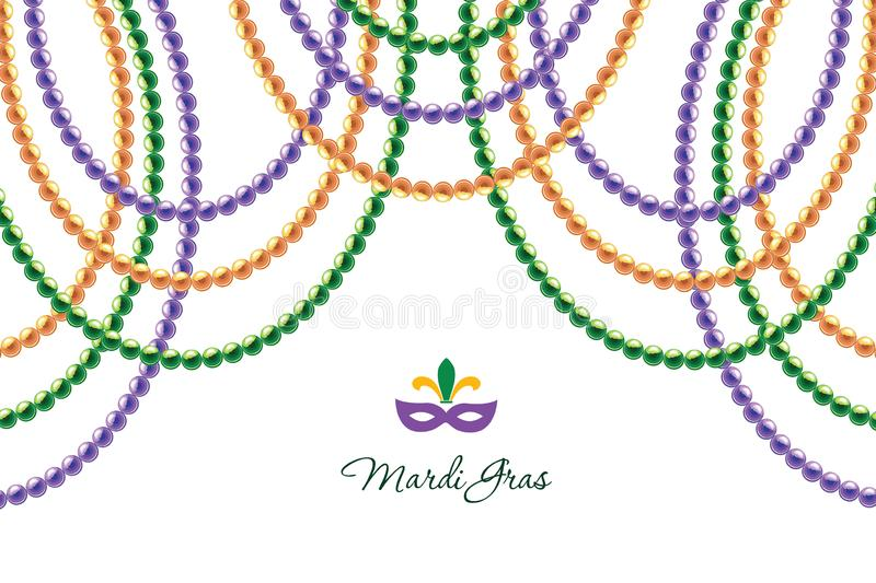 Mardi Gras beads garlands horizontal decorative template isolated on white. Fat tuesday carnival. Vector royalty free illustration