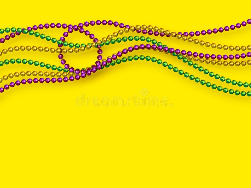 Mardi Gras beads in traditional colors. Decorative glossy realistic elements on yellow background. Copy space, top view. Vector illustration royalty free illustration