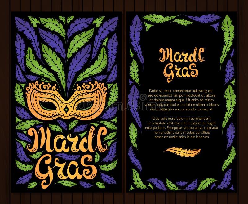 Mardi Gras berömaffisch med den venetian maskeringen och fjädrar vektor illustrationer