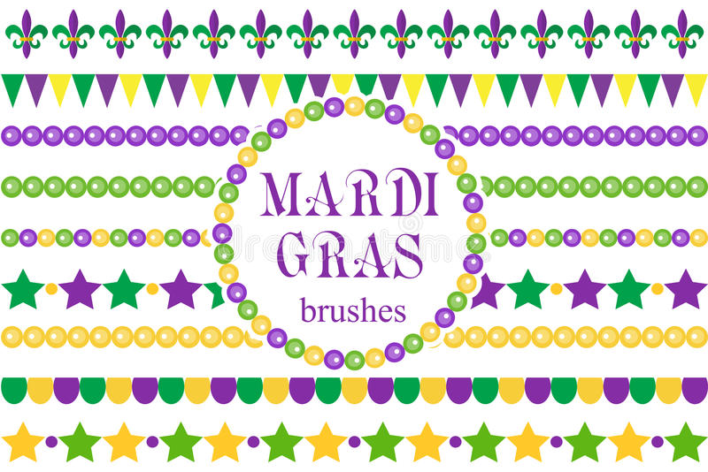 Mardi Gras borders set . Cute beads, fleur de lis ornaments, garland. Isolated on white background. Vector illustration vector illustration