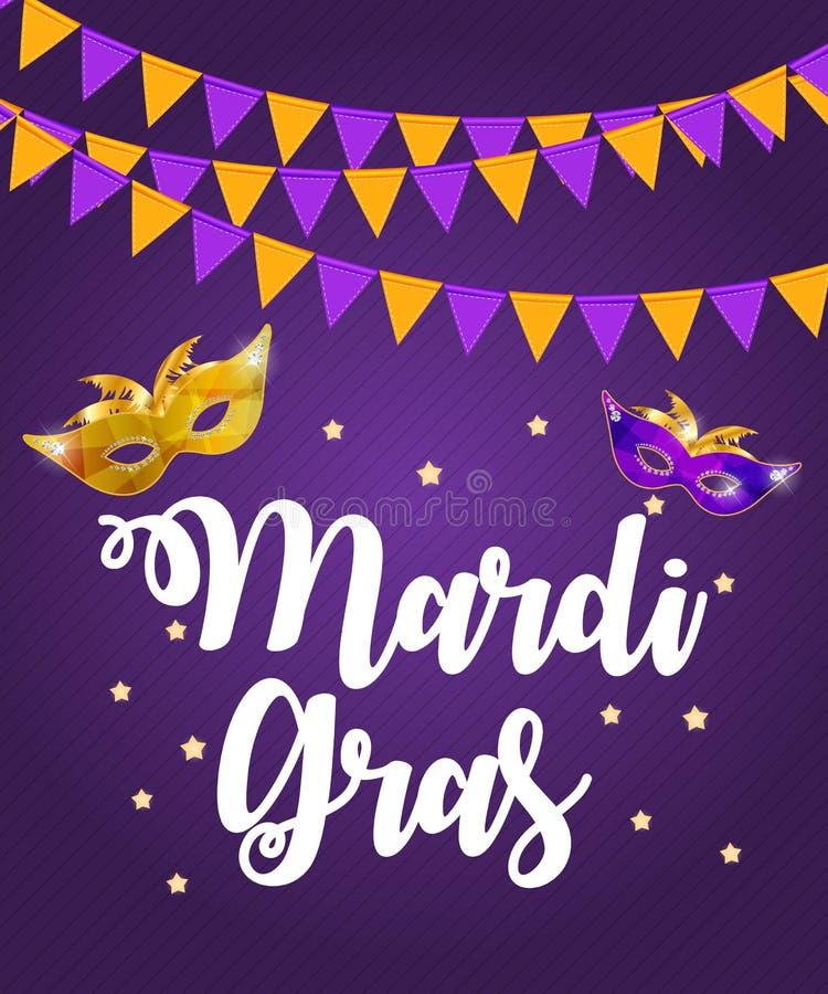 Mardi Gras Brochure Template Cartão Backround da celebração ilustração royalty free