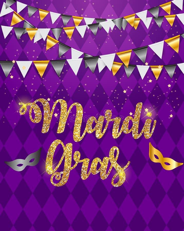 Mardi Gras Brochure Template Cartão Backround da celebração Ilustração de Vecor ilustração stock